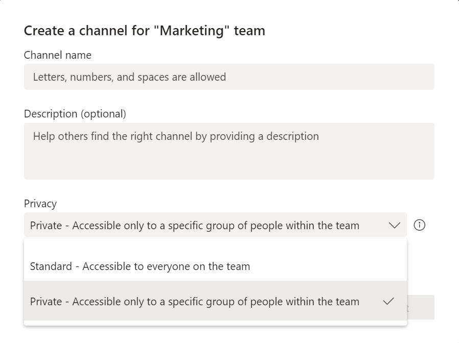 Setting a private channel in Microsoft Teams