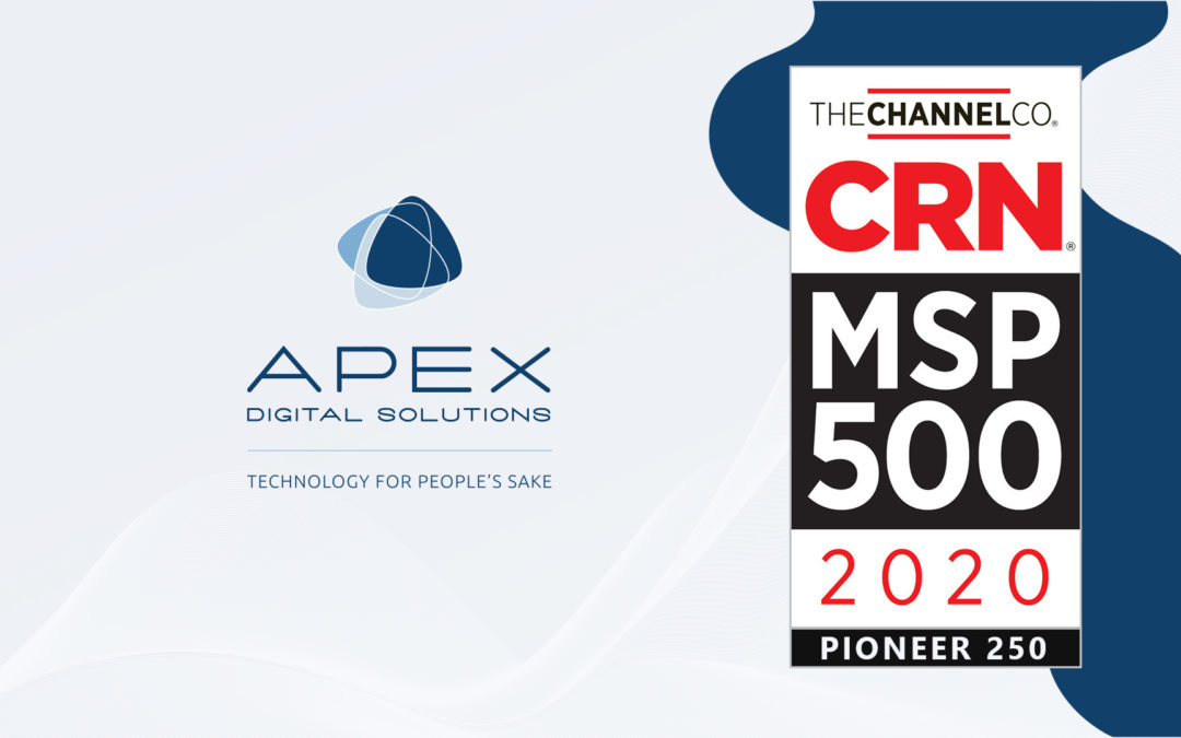 Apex Digital Solutions,The Channel Co. CRN 500 MSP Pioneer 250 Logo 2020 Nations Top Managed Service Provider