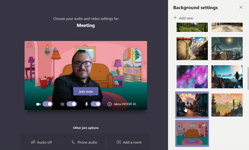 Example of Microsoft Teams custom background images.