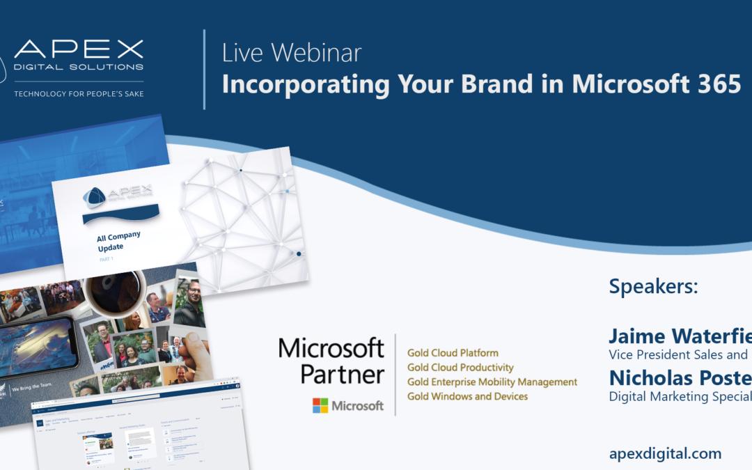 Apex Digital Solutions branding webinar about Microsoft 365.