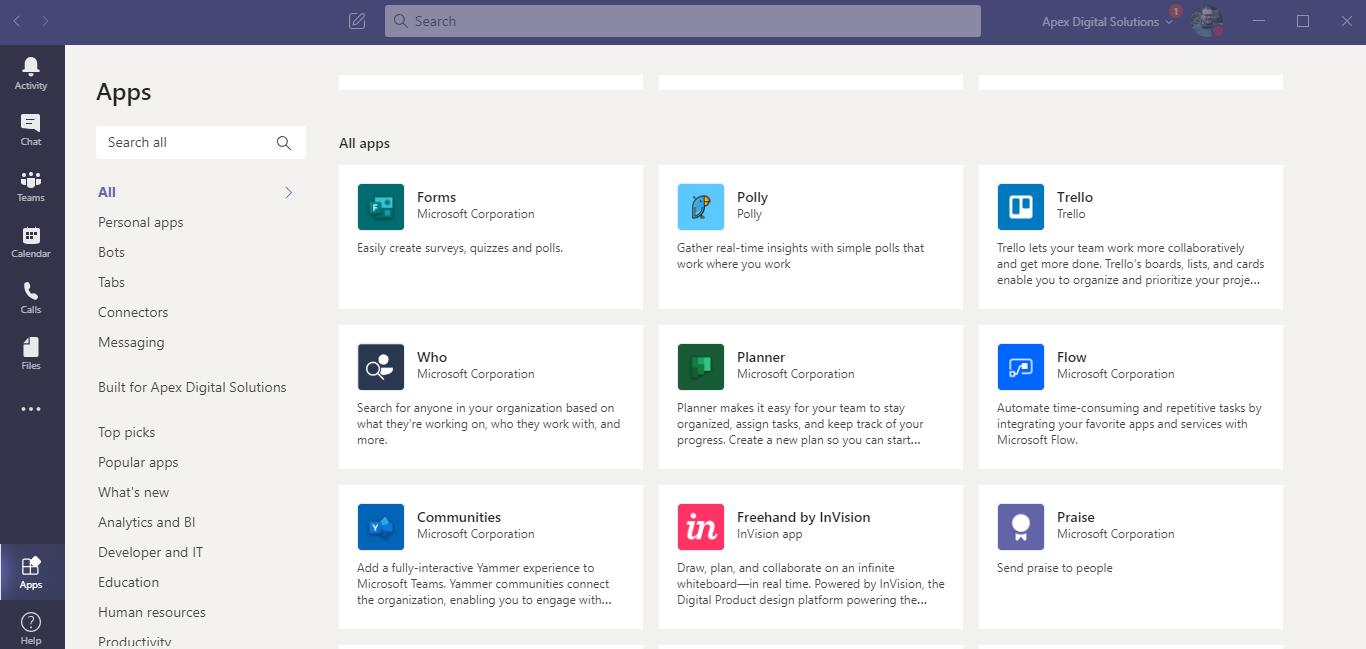 Screenshot of Microsoft Teams app integrations