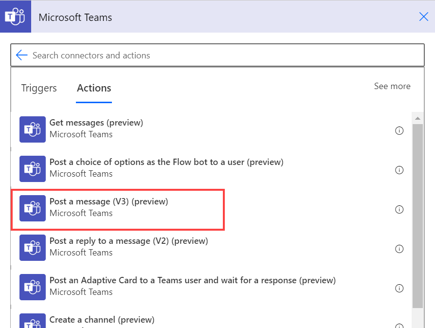 "Power Automate Microsoft Teams action ""post a message."""