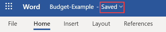 Example of changes saved in SharePoint