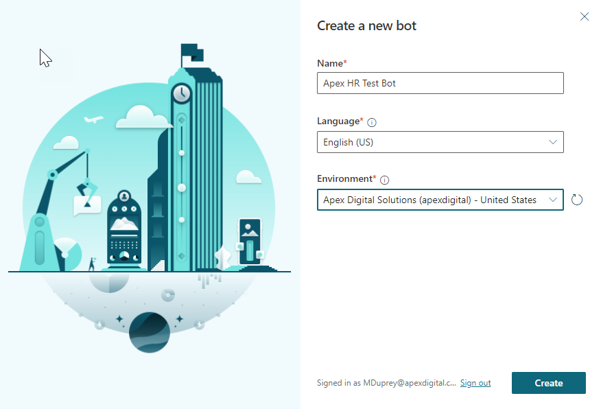 Create a new Power Virtual Agents bot screen