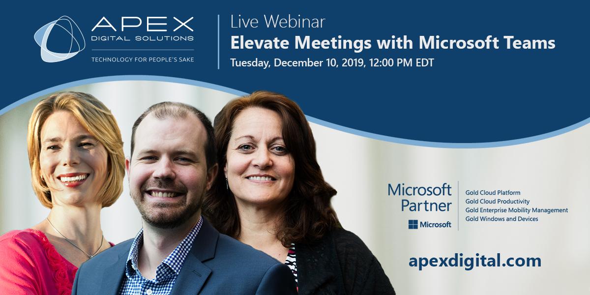 """Link to Apex Webinar """"Elevate Meeting with Microsoft Teams"""""""